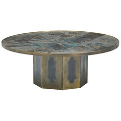 "Patinated Brass ""Chan"" Coffee Table by Philippe and Kelvin Laverne"