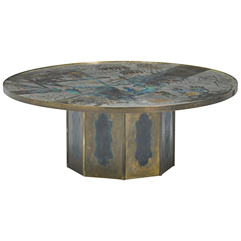 """Patinated Brass """"Chan"""" Coffee Table by Philippe and Kelvin Laverne For Sale"""