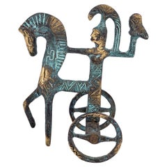 Patinated Brass Etruscan Horse and Chariot Sculpture