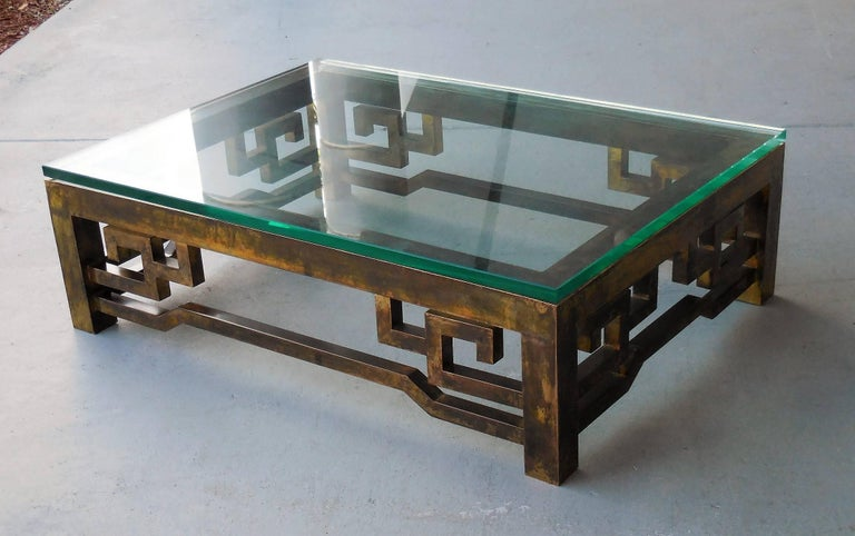 American Patinated Brass Low Coffee Table with Greek Key Design, Laverne Style For Sale