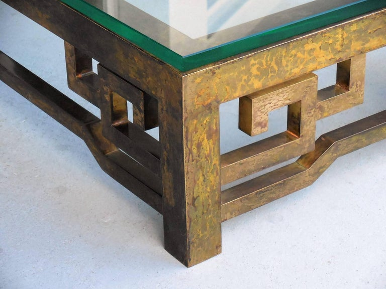 Patinated Brass Low Coffee Table with Greek Key Design, Laverne Style In Excellent Condition For Sale In Miami, FL