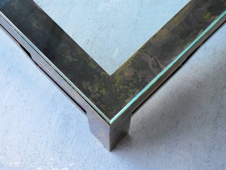 Mid-20th Century Patinated Brass Low Coffee Table with Greek Key Design, Laverne Style For Sale