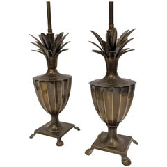 Patinated Brass Pineapple Fluted Urn Lamps