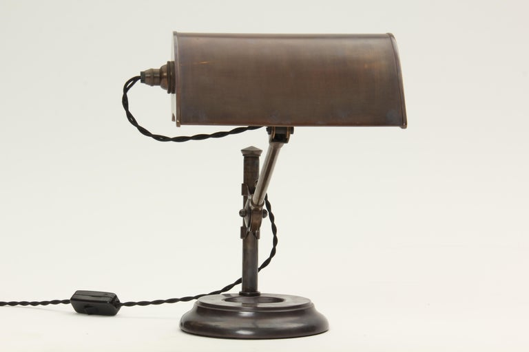Industrial Patinated Brass Pivoting Banker's Desk Lamp