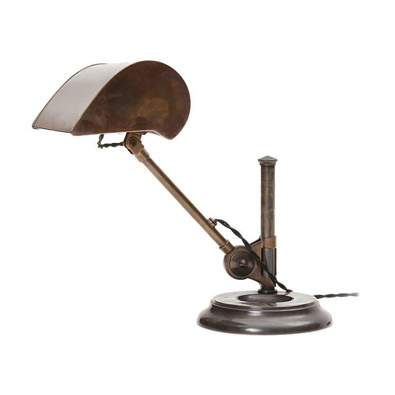 Patinated Brass Pivoting Banker's Desk Lamp