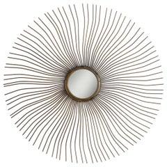 Patinated Brass Sunburst Mirror