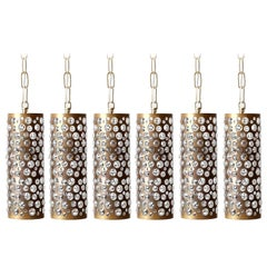 Patinated Brass Textured Glass Pendant Light, Rupert Nikoll, Austria, 1 of 6