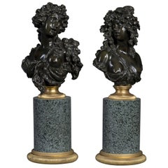 Patinated Bronze Allegorical Busts by Pierre-Louis Détrier, French, circa 1890