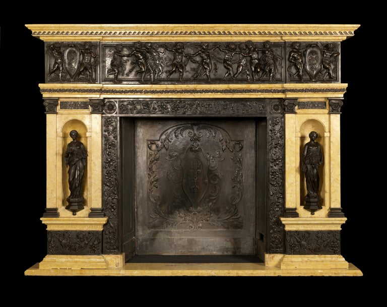 A highly important patinated bronze and Sienna marble fireplace of palatial proportions with finely cast bronze panels and classical figures depicting 'Printemps' and 'Automne'. 