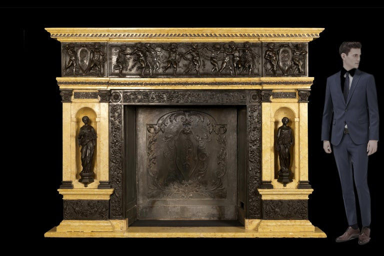 French Patinated Bronze and Sienna Marble Fireplace of Palatial Proportions, circa 1850 For Sale