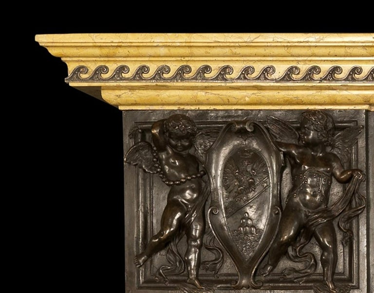 Patinated Bronze and Sienna Marble Fireplace of Palatial Proportions, circa 1850 In Good Condition For Sale In London, GB