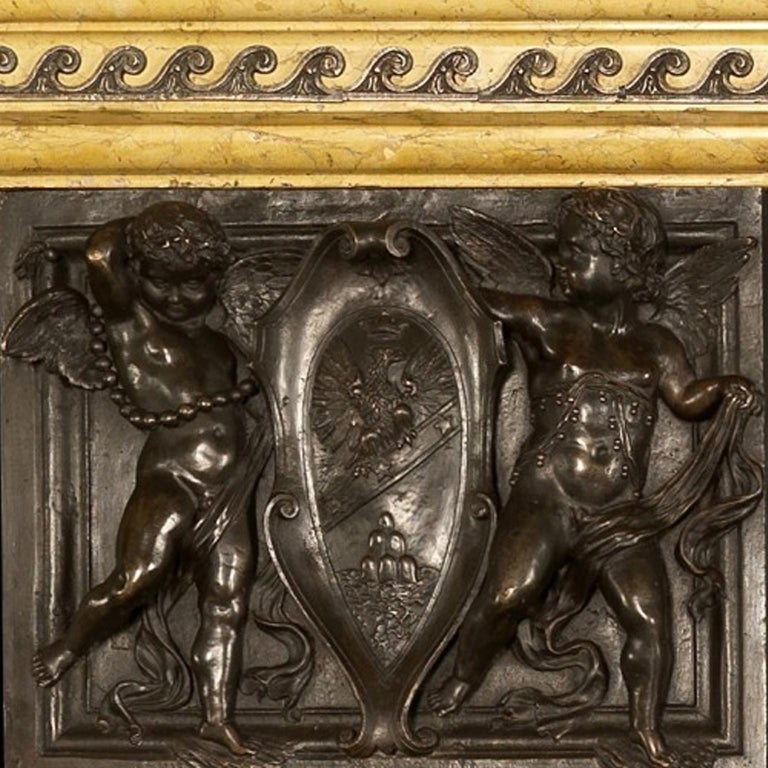 Patinated Bronze and Sienna Marble Fireplace of Palatial Proportions, circa 1850 For Sale 3