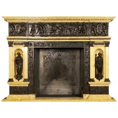 Patinated Bronze and Sienna Marble Fireplace of Palatial Proportions, circa 1850