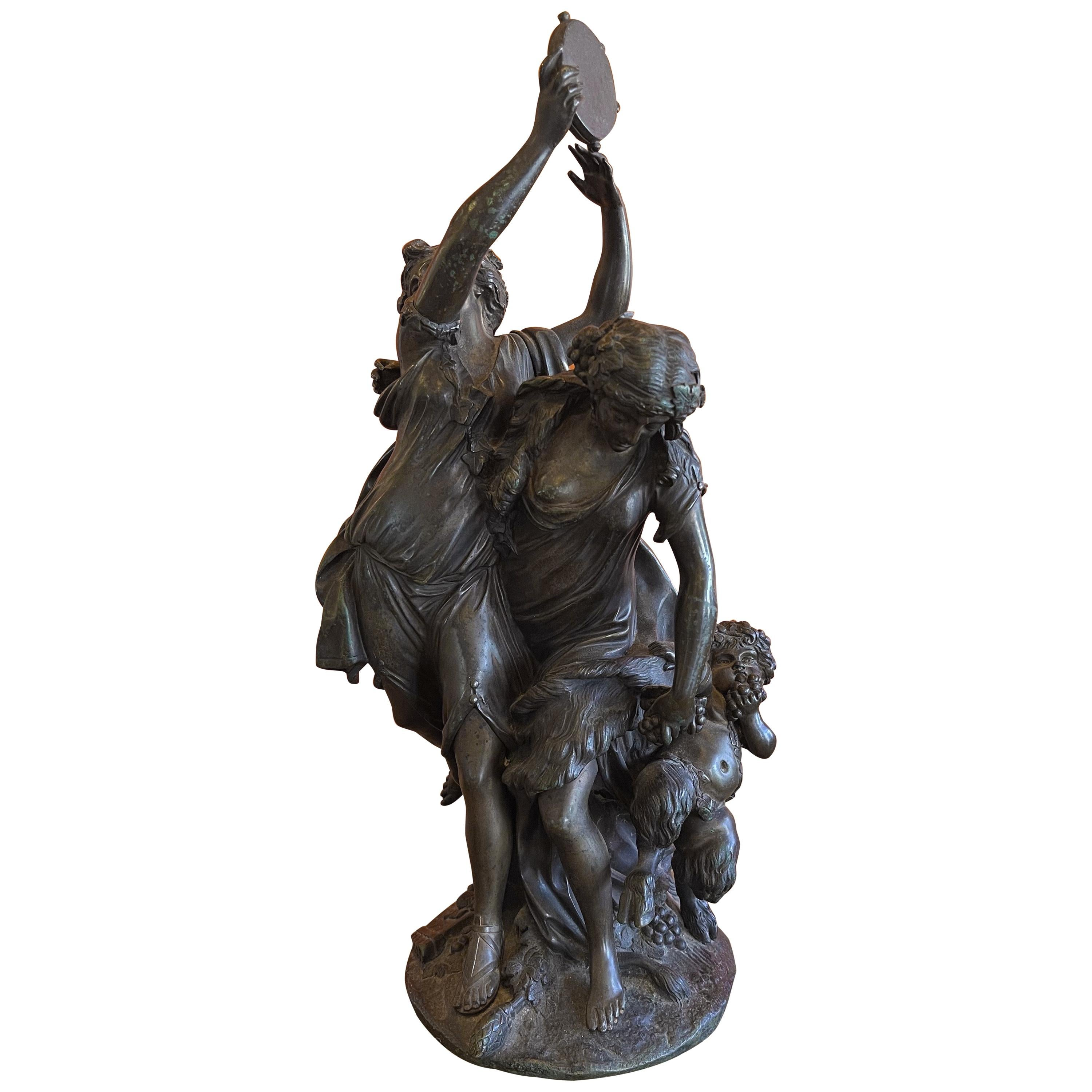 """Patinated Bronze """"Bacchanalia"""" after Claude Michel Clodion"""