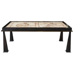 Patinated Bronze Coffee Table Fitted with a Stone Mosaic Top