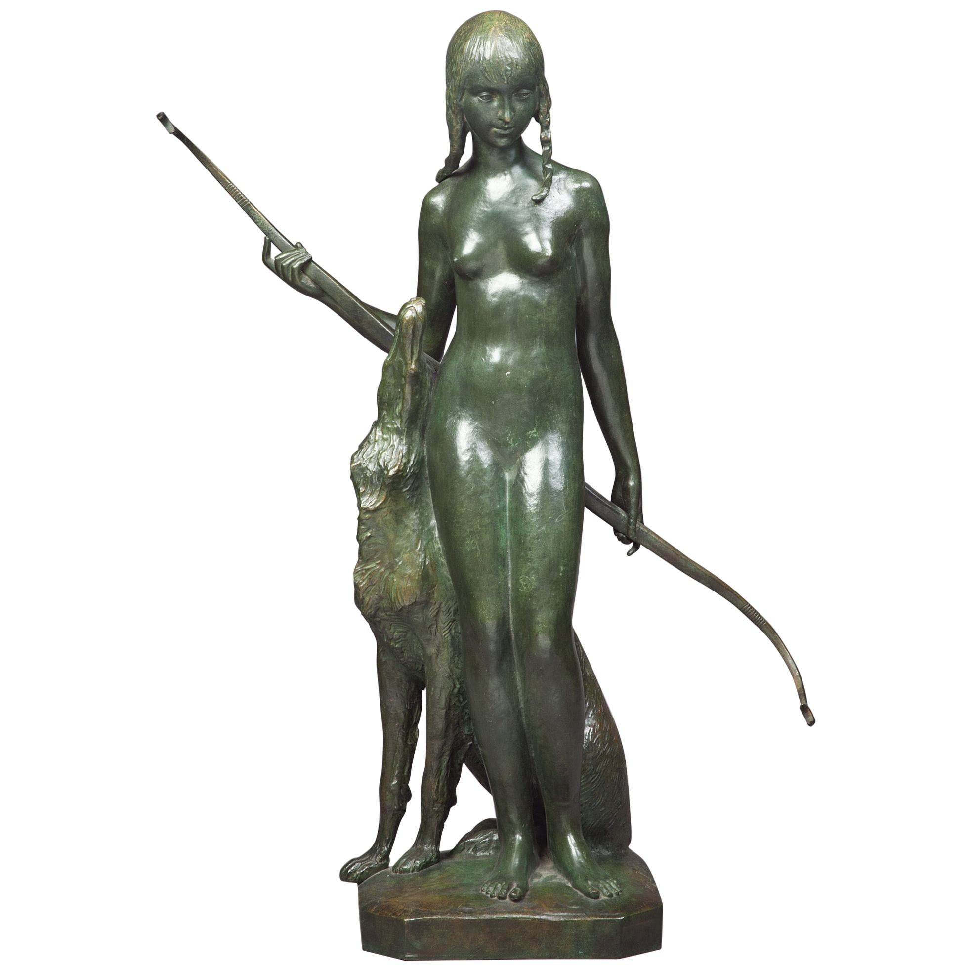 Patinated Bronze Figural Group of Diana the Huntress and Her Hound, circa 1925