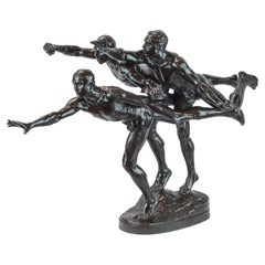 """Patinated Bronze Figural Group Sculpture Entitled """"Au But"""" 'The Finishing Line'"""