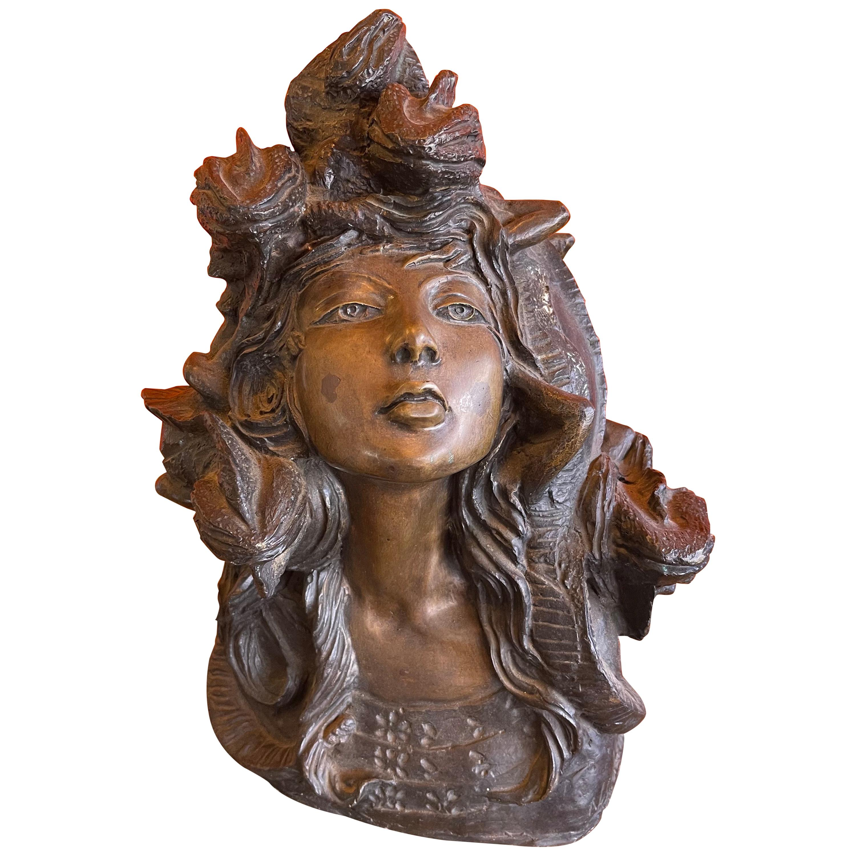 "Patinated Bronze ""Medusa"" Sculpture by Norma Leon"