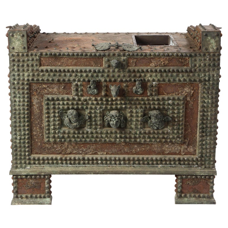 Patinated-Bronze Model of a Safe, after the Antique, 20th Century For Sale