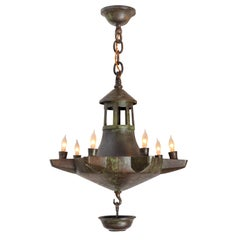 Patinated Bronze Oil Light Style Chandelier, Denmark 1930s