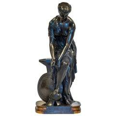 Patinated Bronze Sculpture Depicting Thetis by Emile Hebert