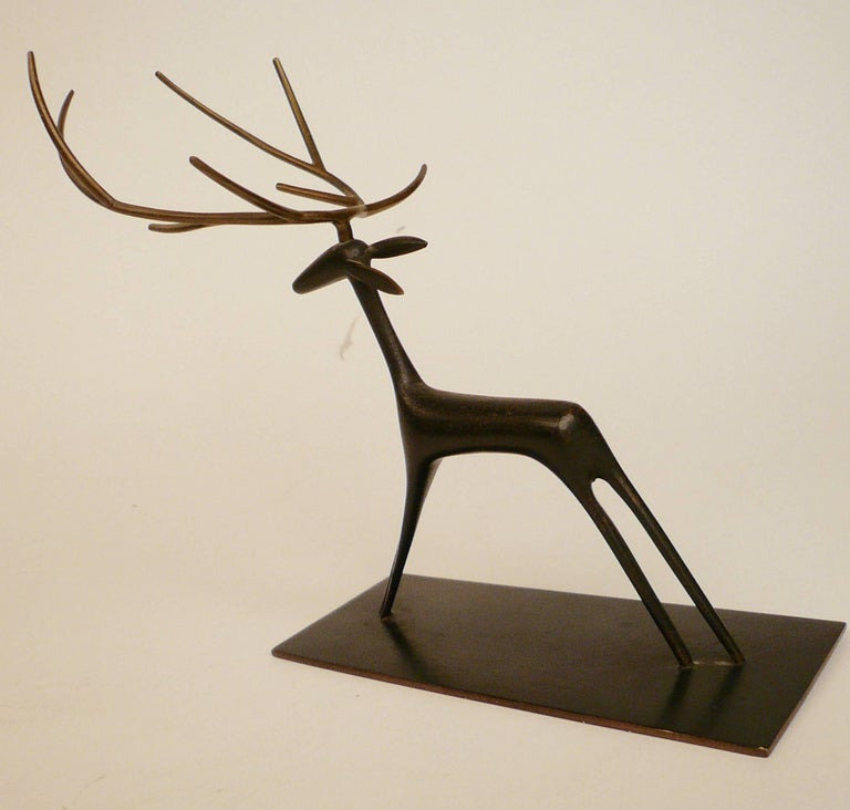 Austrian Patinated Bronze Sculpture of a Deer by Hagenauer For Sale