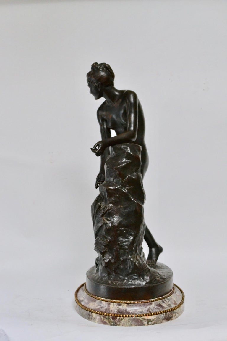 Neoclassical Patinated Bronze Sculpture of a Standing Woman Signed Malvina Brach For Sale