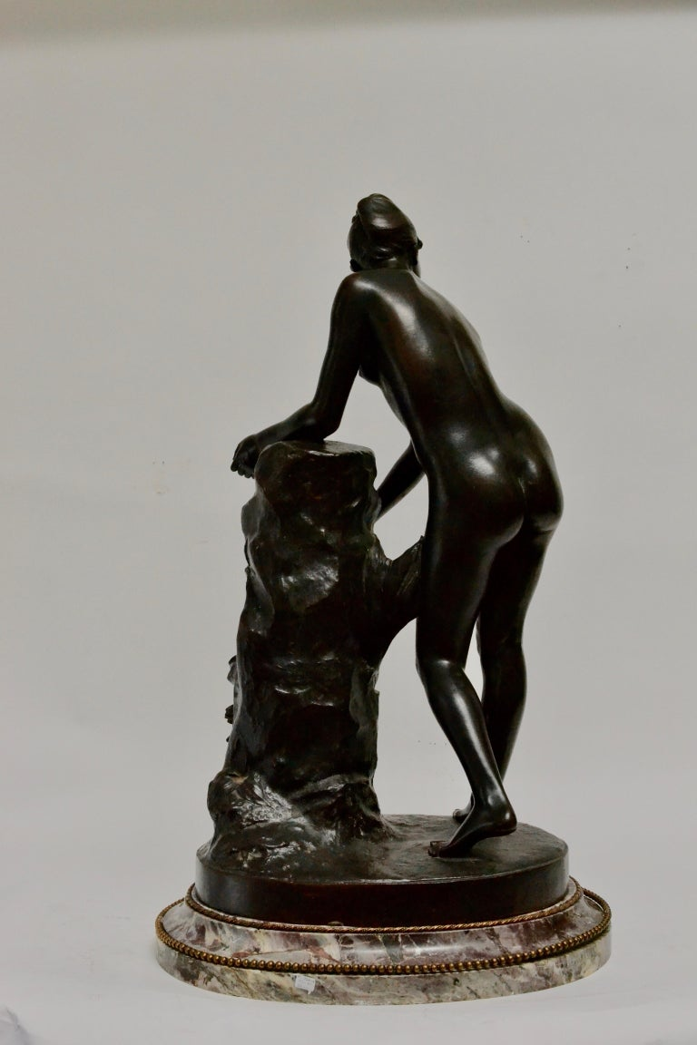 Swedish Patinated Bronze Sculpture of a Standing Woman Signed Malvina Brach For Sale