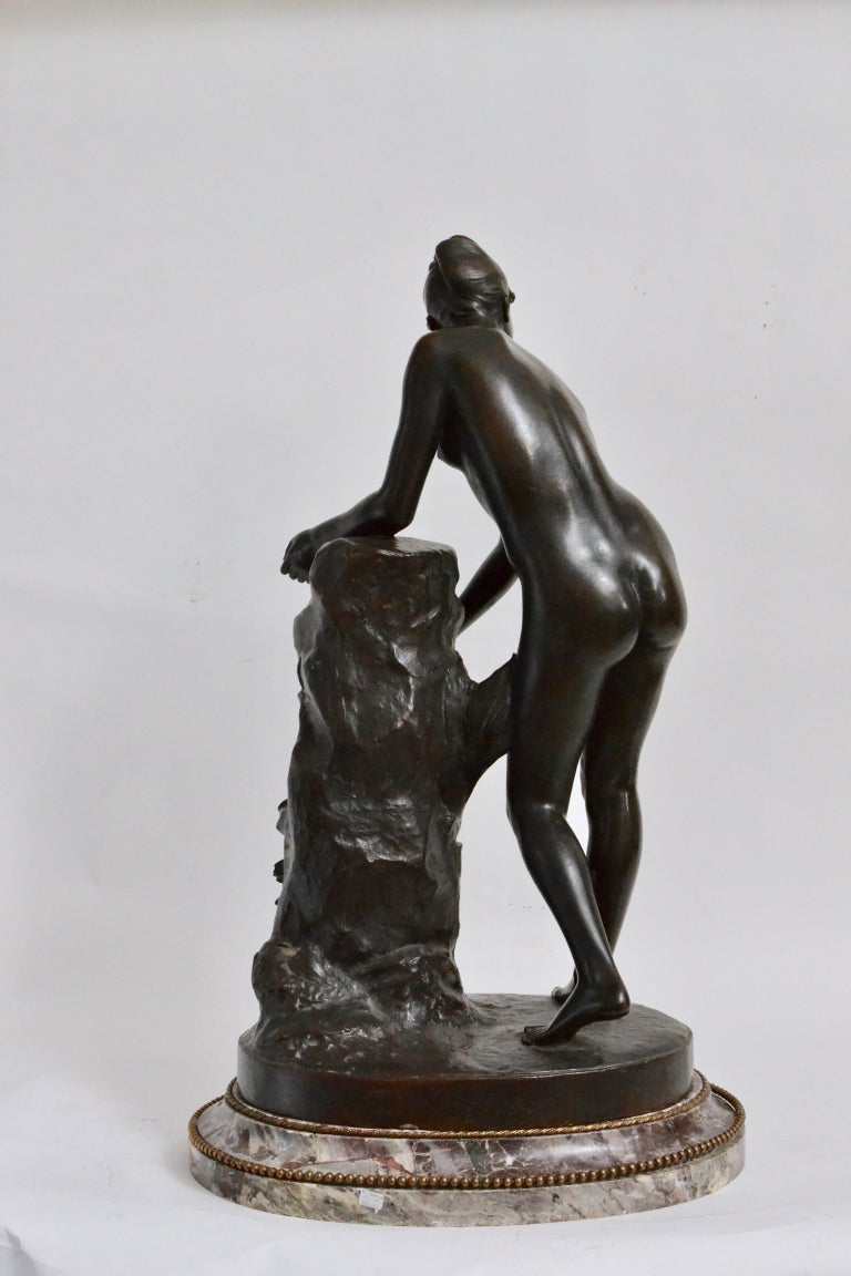 Patinated Bronze Sculpture of a Standing Woman Signed Malvina Brach In Good Condition For Sale In Stockholm, SE