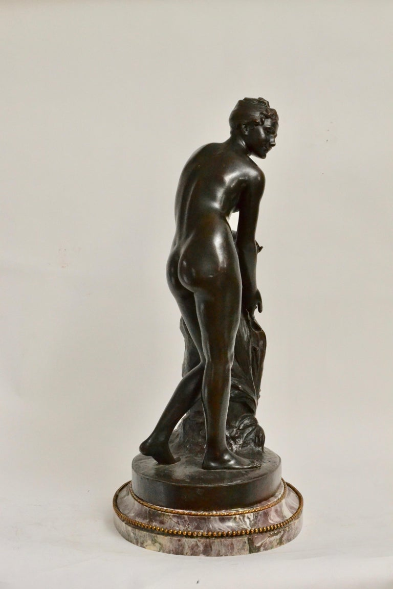 19th Century Patinated Bronze Sculpture of a Standing Woman Signed Malvina Brach For Sale