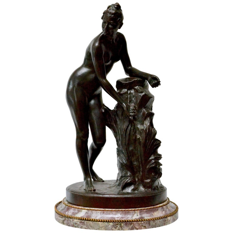 Patinated Bronze Sculpture of a Standing Woman Signed Malvina Brach For Sale