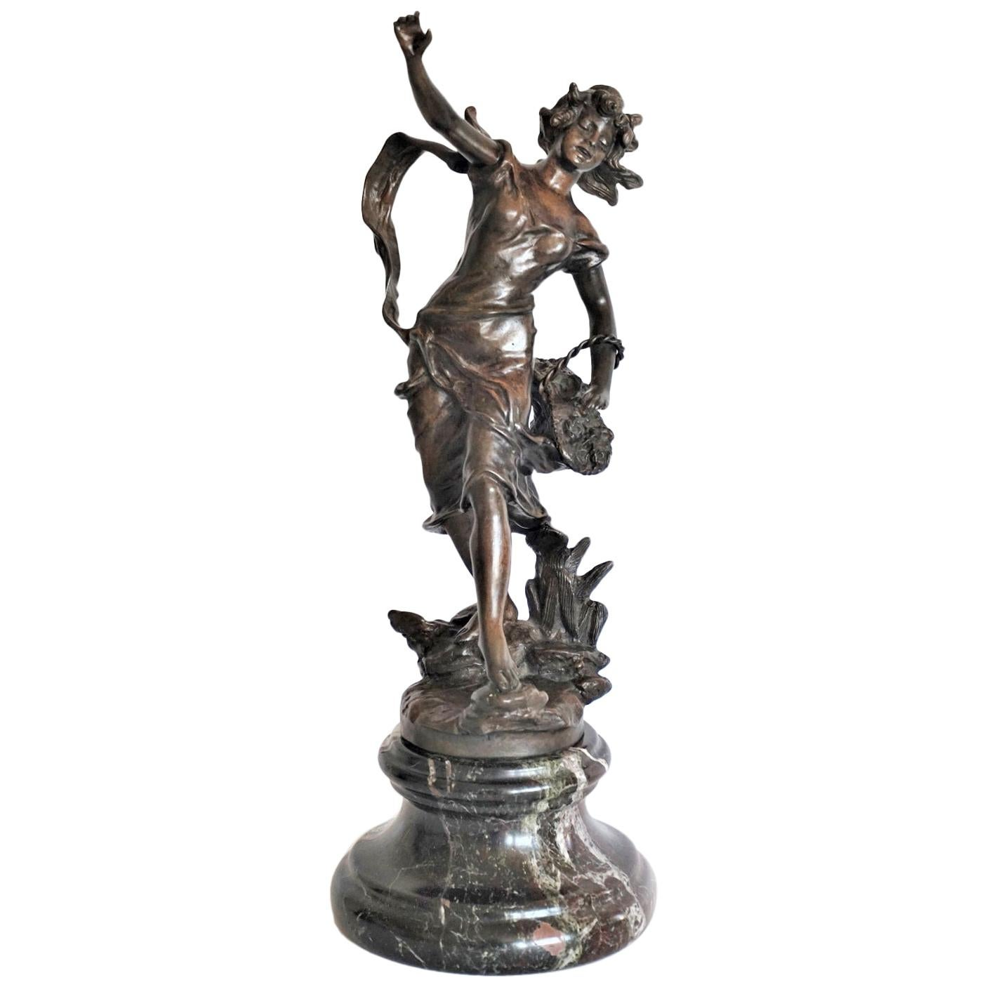 Patinated Bronze Sculpture on Marble Base, Signed Geo Maxim