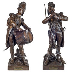 Patinated Bronze Sculptures of Soldiers by Etienne Dumaige