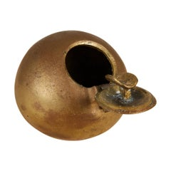 Patinated Bronze Spherical Ashtray with Flip-Top Lid