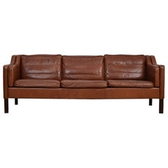 Patinated Brown Leather Three-Seat from Denmark, 1960s