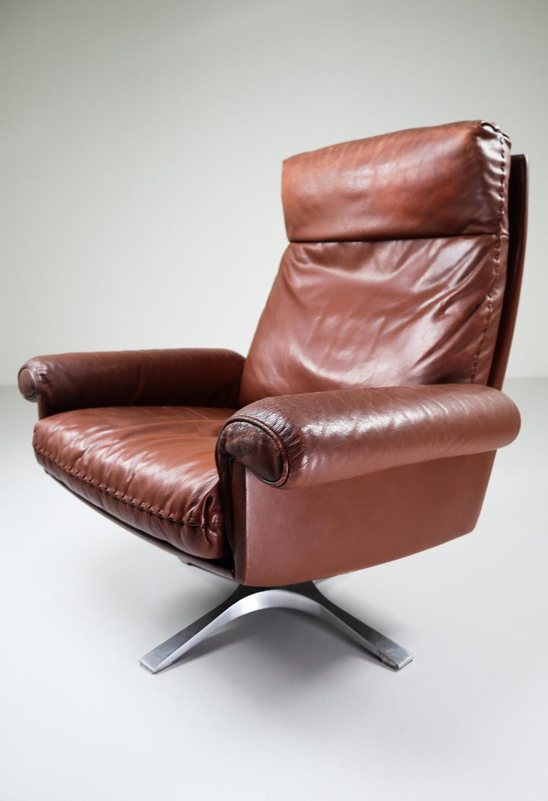 Patinated brown leather