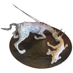 Patinated Brutalist Unicorn Tragedy Bronze Sculpture on Marble Base