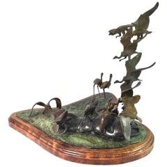 Patinated Cast Bronze Bird Sculpture by T. O. Mathews