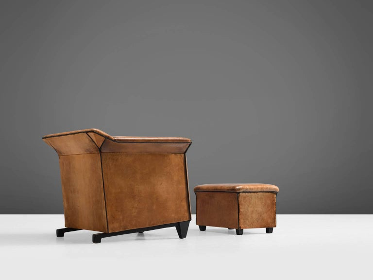 Patinated Cognac Leather Club Chair With Ottoman 1960s At