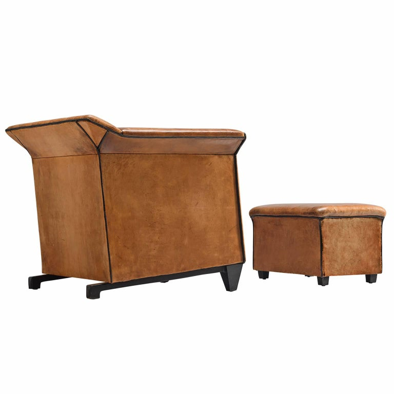Patinated Cognac Leather Club Chair with Ottoman, 1960s