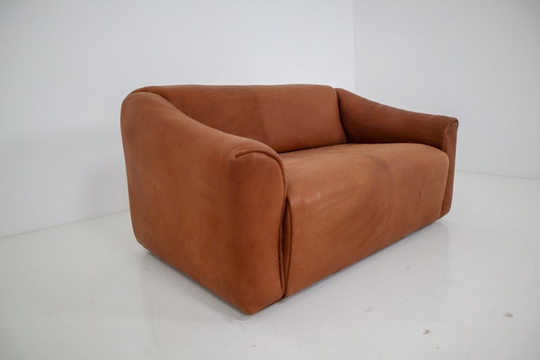 Mid-Century Modern Patinated Cognac Leather