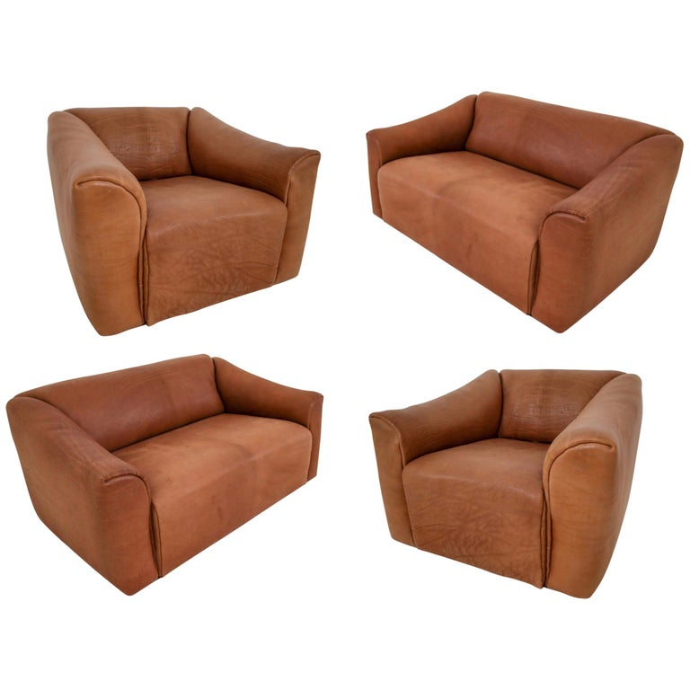 "Patinated Cognac Leather ""DS-47"" Seatings by De Sede in Switzerland, circa 1970s For Sale"