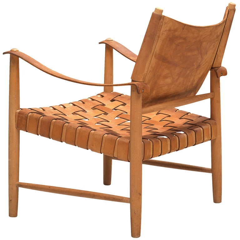 Patinated Cognac Leather Safari Chair, Denmark, 1950s For Sale