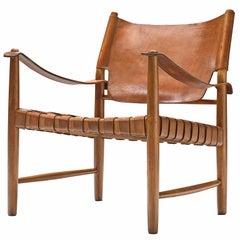 Patinated Cognac Leather Safari Chair, Denmark, 1950s