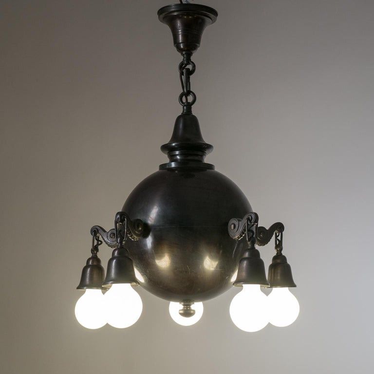 Patinated Copper Chandelier, circa 1915 For Sale 3