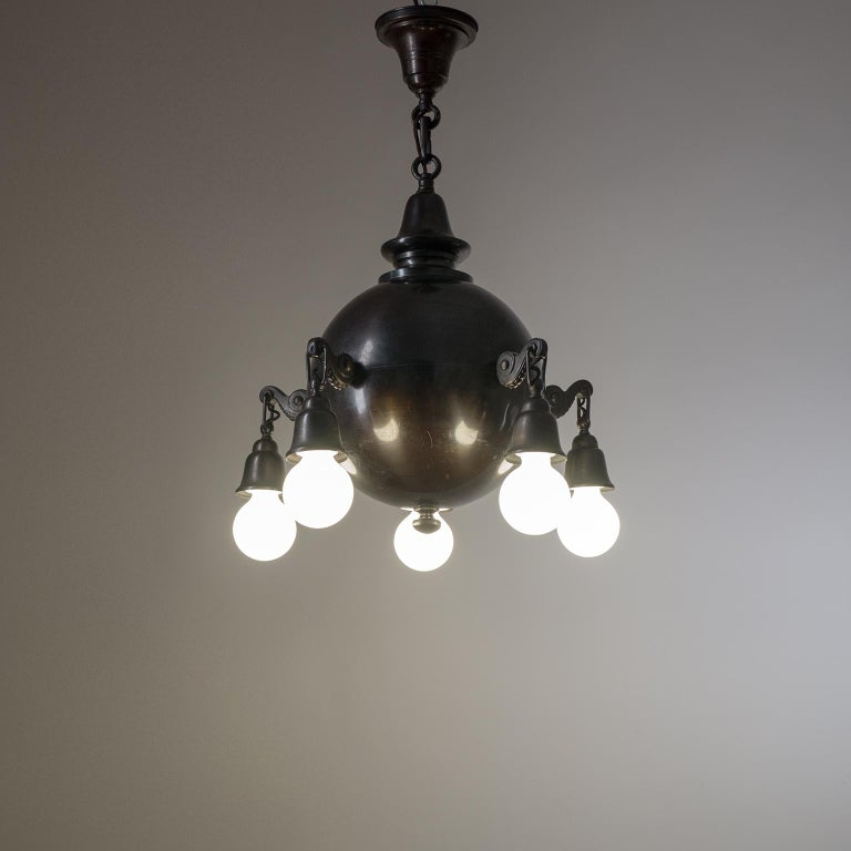 Patinated Copper Chandelier, circa 1915 For Sale 4