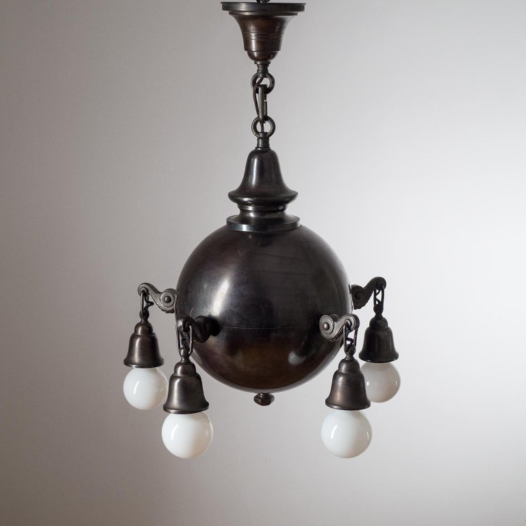 Early 20th Century Patinated Copper Chandelier, circa 1915 For Sale