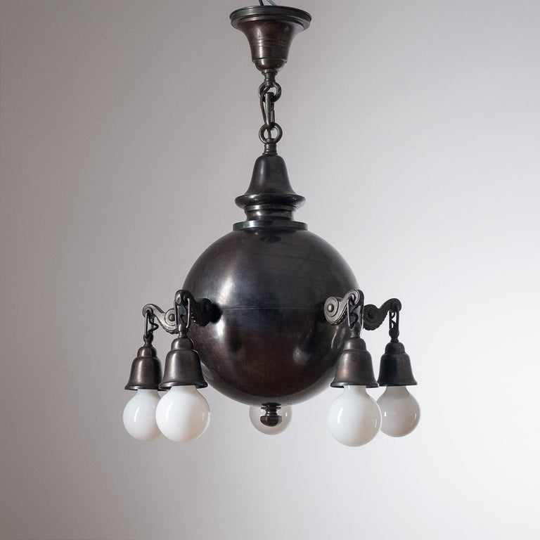 Patinated Copper Chandelier, circa 1915 For Sale 2