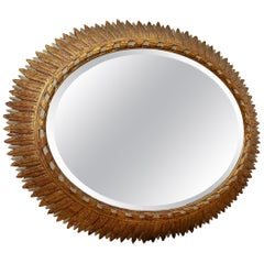 Patinated Carved Wood and Gold Leaf Mirror, France, circa 1950