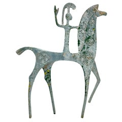 Patinated Etruscan Greek Brass Horse Sculpture in Style of Pepe Mendoza